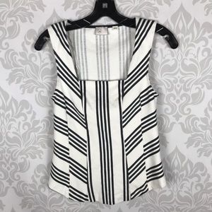 Anthro Postmark Black White Striped Tank Top